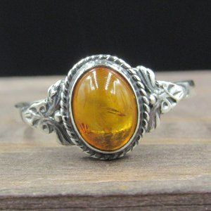 Size 8 Sterling Silver Floral Amber Band Ring